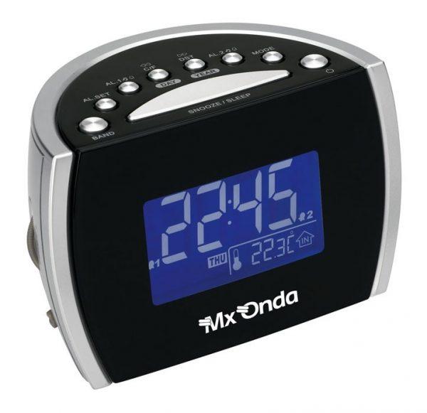 Radio reloj digital con doble alarma y termómetro